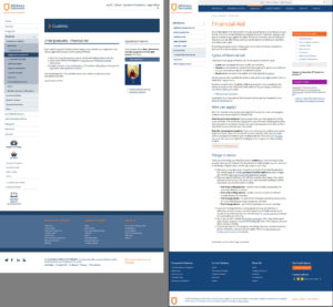 Comparison of original and revised versions of Athabasca University's financial aid page
