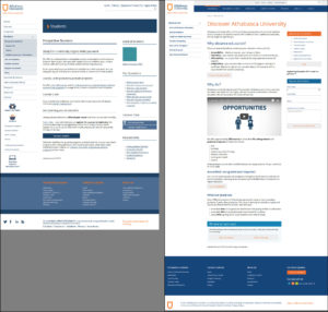 Comparison of original and revised versions of Athabasca University's prospective students landing page