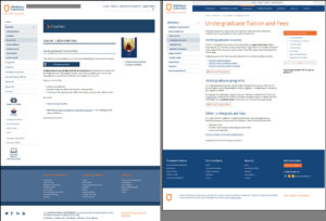 Comparison of original and revised versions of Athabasca University's undergraduate fees page