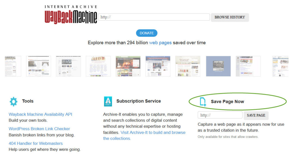 Wayback Machine screencapture showing Save Page Now tool