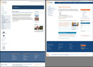 Comparison of original and revised versions of Athabasca University's open enrolment page